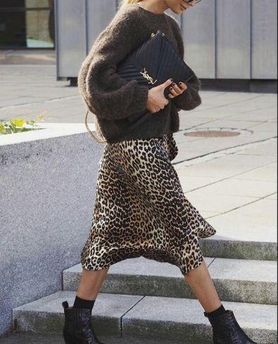 Street Style Casual Leopard Print Midi Skirt