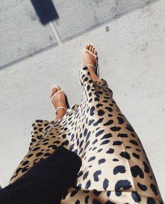 Styling a Leopard Silk Midi Skirt.