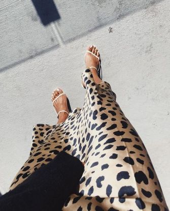 Styling a Leopard Silk Midi Skirt.