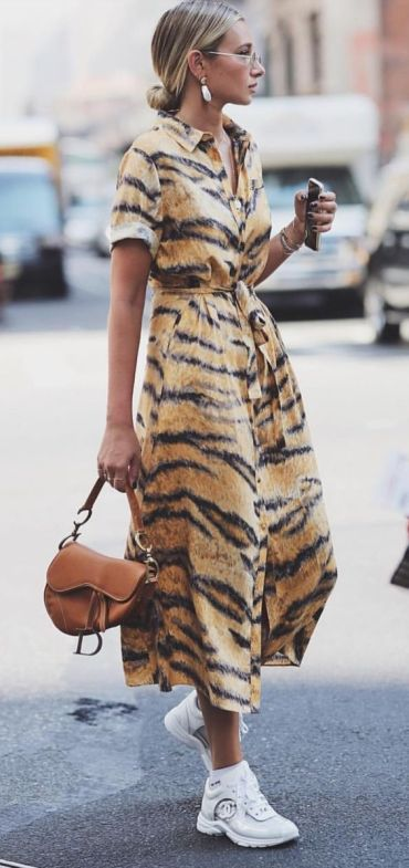 Tiger Pint Shift Dress How To Street Style