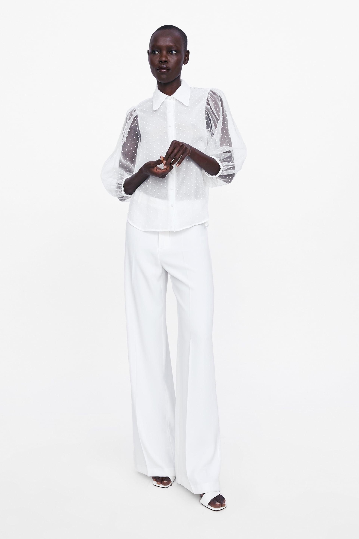 Purchase Link Zara Semi-Sheer Swiss Dot Puffed Sleeve Blouse