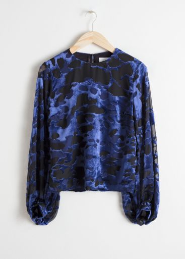 Purchase Link For & Other Stories Sheer Burnout Velvet Royal Blue Puffed Sleeve Blouse