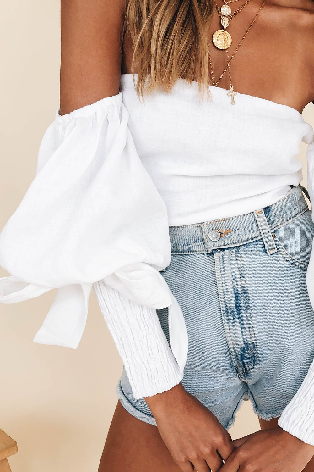 Purchase Link For Verge Girl Raised In Paris Cropped White Puffed Sleeve Blouse