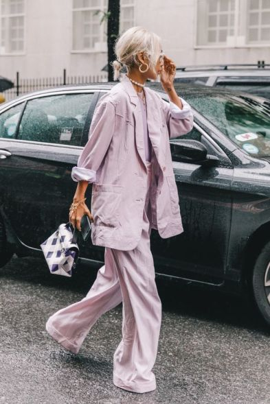 Lavender Suit Street Style Office Outfit Inspo