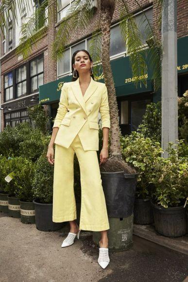 Double Breasted Tailored Lemon Suit Co-Ord Office Outfit Inspo